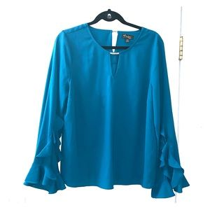 bell sleeve turquoise blouse